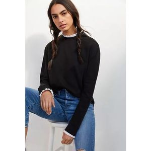 Anthropologie Lea & Viola Shea Cropped Layered Top Black Size Extra Large NWT